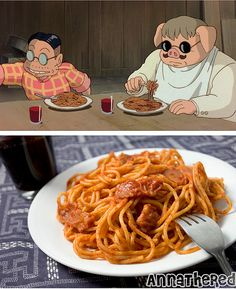 Ghibli Feast - Porco Rosso's bacon spaghetti with red wine
