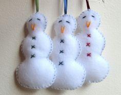 felt christmas ornaments | Snowman felt Christmas ornaments - set of three - handmade ornaments ...