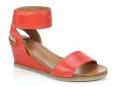 EOS Footwear 'Emma' in Blood Orange. The classic heeled wedge sandal with a thick ankle strap with velcro fastening. Also available in Black, Cafe Creme, Brandy, Champagne, Navy and Taupe. Cafe Creme, Winter Shoes For Women, Blood Orange, Italian Leather, Wedge Sandals, Eos, Ankle Strap, Taupe, Champagne