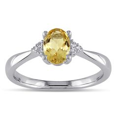 M by Miadora Sterling Silver Oval Citrine and Diamond-accented Ring (Size 4), Women's, Yellow