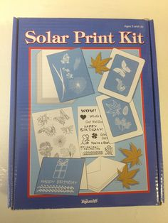 Solar Print Kit Ages 5+ Includes 3 Blank Note Cards with Envelopes  2 Pre-printed Stencil Sheets 2 Frames 12 Sheets of Solar Print Paper $12.99