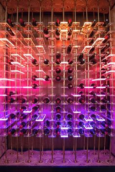Fun neon lights make this wine cellar perfect for someone wh.- Fun neon lights make this wine cellar perfect for someone who doesn't take thems… Fun neon lights make this wine cellar perfect for someone who doesn't take themselves too seriously. Wine Shelves, Wine Storage, Wine Cava, Caves, Home Wine Cellars, Wine Cellar Design, Wine Bar Design, Wine Display, Wine Cabinets