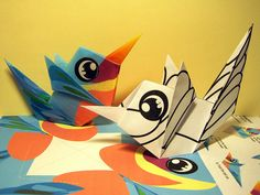 Origami Hummingbirds, Colored Paper to print or Color your Own