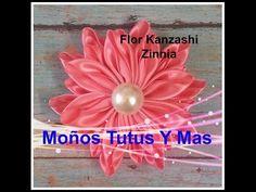 Flores elegantes KAnzashi de listón , Lazos fáciles paso a paso, #530 - YouTube