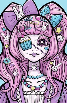 "Sweet Lolita Girl 11x17"" Print Harajuku Kawaii Decora Fairy Kei"