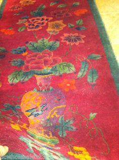 1920s Antique Chinese Art Deco Rug 2 5x5 3ft Flowers Christmas Colors Magenta BG | eBay