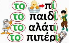 Greek spelling and agreements Greek Language, Speech And Language, School Lessons, Lessons For Kids, Greek Writing, Learn Greek, School Staff, Greek Words, Word Pictures