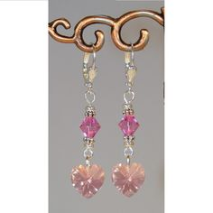 Valentine Rose Pink Crystal Heart Dangle by ArtisticTouches, $12.00
