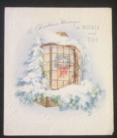 Vintage Christmas Holiday Greeting Card Glitter Big Wreath in Window
