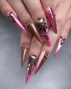 Got so many request for this looks 😍already know what you gonna ask, it's take 2 hours, I buy beads from Sam biddle, and it's hand place by… Bling Nails, Stiletto Nails, Swag Nails, Gel Nails, Fabulous Nails, Perfect Nails, Gorgeous Nails, Stylish Nails, Trendy Nails