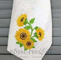 Machine Embroidery Design Sunflowers - 3 sizes