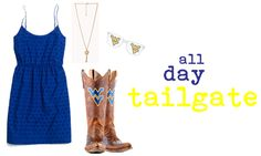 Blue Eyelet Sundress from Madewell, Gameday Boots from WVU Bookstore, Key Necklace from Forever Billboard Shades from WVU Bookstore College Style, College Fashion, Wvu Football, West Virginia University, Cowboy Boots Women, Key Necklace, Take Me Home, Tailgating