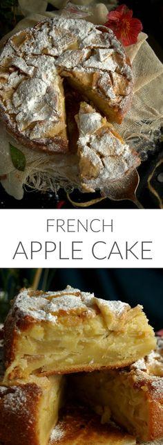 French Apple Cake (Scroll down for the English recipe) La cocina francesa es mundialm. Fall Desserts, No Bake Desserts, Just Desserts, Delicious Desserts, Yummy Food, Baking Desserts, Classic Desserts, Italian Desserts, Fall Recipes
