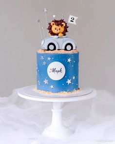 2 Year Old Birthday Cake, Baby Boy Birthday Cake, Baby Birthday Cakes, Baby Boy Cakes, Cars Birthday Parties, Fondant Cake Designs, Fondant Cake Toppers, Cars Theme Cake, Lion Cakes