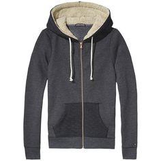 Warmer Tommy Hilfiger Hoody mit Kapuze, geteilter Kängurutasche und Metall-Reißverschluss50% Baumwolle, 50% Polyester...