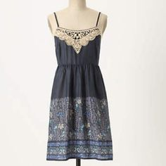 Anthropologie Evening Primrose Chemise By Eloise, this Anthropologie dress with crochet detail at the top is beautiful and lightweight. The bright blue and teal owls and birds with the gray leaves is a great combo! In great condition and has only been worn a few times! Anthropologie Dresses Mini