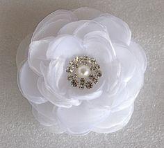 White+wedding+hair+flower+with+rhinestone+-wedding+hair+accessories+-++white+bridal+hair+clip,+$29.99