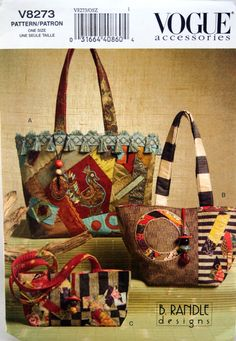 e889149d55 Handbags And Tote Vogue Accessories V8273 Uncut Sewing Pattern 2007.  Quilted Tote BagsQuilted ...
