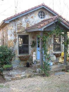 Romancing the stone A stone potting shed, designed and owned by Bernadine Richard in Atlanta, GA Cottage Living, Cozy Cottage, Cottage Homes, Cottage Style, Garden Cottage, Stone Cottages, Cabins And Cottages, Stone Houses, Plan Garage