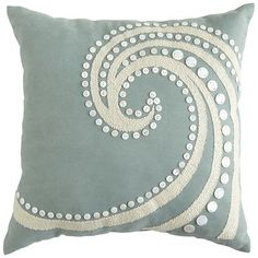 "Mother-of-Pearl Beaded Wave Pillow @ Pier One: ""Add a luxe touch to poolside or patio furniture with our newest collection of UV-treated outdoor pillows. Channeling an oceanic vibe, this blue beauty features an intricate wave in contrasting white that we've further embellished with mother-of-pearl buttons. The look is obviously indigenous to any well-decorated garden or yard."""