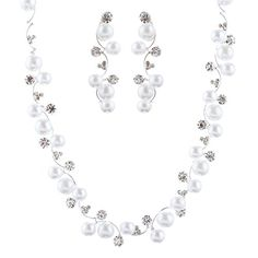 ACCESSORIESFOREVER Bridal Wedding Jewelry Set Crystal Rhinestone Pearl White - CHECK IT OUT @ http://www.finejewelry4u.com/jew/101834/150720