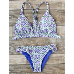 SheIn(sheinside) Printed Ladder Cutout Triangle Bikini Set ($17) ❤ liked on Polyvore featuring swimwear, bikinis, multicolor, sexy beachwear, cut-out swimwear, triangle swimwear, sexy swimwear and sexy two piece