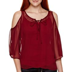 Arizona 3/4-Sleeve Cold-Shoulder Peasant Top   found at @JCPenney