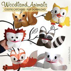 DRUCKBARE Waldtiere Cootie Catcher | PDF-Download | Wald Tiere, Tiere des Waldes, Origami für Kinder, einfache Spiel, Wahrsager von LaleliloluStudios