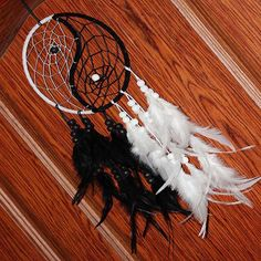 Buy Handmade Dream Catcher With Feathers Car Wall Hanging Decoration Gift Room Decor Adesivos Para Parede Dreamcatcher at Wish - Shopping Made Fun Black Dream Catcher, Small Dream Catcher, Dream Catchers, Colorful Feathers, Black Feathers, 5 Piece Canvas Art, Shops, Dragon, Yin Yang