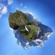 Little planet image of rocky mountains