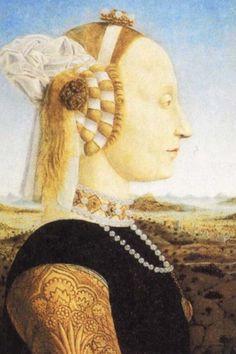 Ritratto di Battista Sforza duchessa di Montefeltro,1472 circa,Palazzo Ducale Urbino Italy.