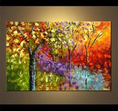Modern landscape painting by the artist Osnat Tzadok. Choose from thousands of modern, contemporary and abstract paintings in this online art gallery. Artwork: 'By the Creek', dimensions: Canvas Painting Landscape, Watercolor Paintings, Forest Painting, Abstract Paintings, Abstract Wall Art, Canvas Wall Art, Colorful Paintings, Decorative Paintings, Tree Art