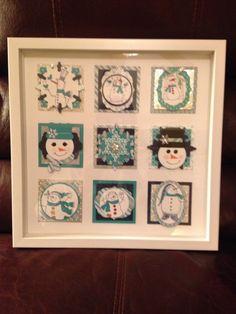 could make this shadow box using gift tags! Christmas Collage, Christmas Frames, Christmas Projects, All Things Christmas, Holiday Crafts, Christmas Diy, Christmas Cards, Box Frame Art, Shadow Box Frames