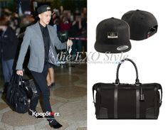 SID ACBA CRITICBURBERRY SeHun Metal Plate Crocodile Snapback in Black  amp   Leather Trim Duffle Bag in Black  a1a69c066169