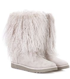 7e2fb0cc63ca1 Ugg Australia - Lida fur and suede ankle boots - With curly Mongolian lamb  fur spilling