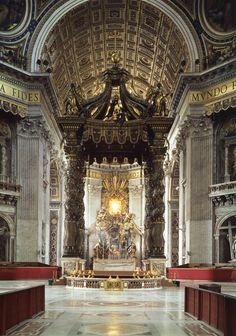 """Gian Lorenzo Bernini, Chair of Saint Peter    """"Pilgrims entering the basilica look straight through the columns of the Baldacchino  (acting as a picture frame) and see their final destination in the far distance of the apse."""" —Camille Paglia, Glittering Images"""