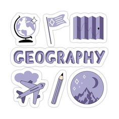 Decorate laptops, Hydro Flasks, cars and more with removable kiss-cut, vinyl decal stickers. Glossy, matte, and transparent options in various sizes. Super durable and water-resistant. Back to school with the cutest Light Purple Geography subject stickers. Perfect gift for a kid, tween, teen or any age! Science text Check out my portfolio for all the individual subject versions as I roll them out! Mountains, moon and stars, pencil, map, flag, world globe, and airplane. Preppy Stickers, Kawaii Stickers, Cool Stickers, Printable Stickers, Laptop Stickers, Journal Stickers, Planner Stickers, Homemade Stickers, Mini Drawings