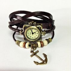 Wrap Watch , Vintage Style, Charm Leather Watch, Women Watches, Beaded Watch, Anchor Bracelet, Charm Bracelet , Tribal,  $10.99