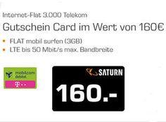 Saturn: LTE-Flat im Telekom-Netz mit drei GByte für 5,40 Euro dank Gutschein https://www.discountfan.de/artikel/tablets_und_handys/saturn-lte-flat-im-telekom-netz-mit-drei-gbyte-fuer-5-40-euro-dank-gutschein.php Ab sofort und nur bis Ende April 2016 ist bei Saturn eine mobile Datenflat im Telekom-Netz mit 3 GByte LTE-Volumen für rechnerisch 5,40 Euro im Monat zu haben. Möglich macht dies ein Saturn-Gutschein in Höhe von 160 Euro. Saturn: LTE-Flat im Telekom-Netz mit dre