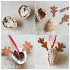 Walnut Crafts - Reindeer Ornament These are just the cutest Walnut Reindeer Ornaments - we love crafting walnuts. A great Walnut DIY to make for Christmas. Great for Winter Fairs too. Kids Crafts, Christmas Crafts For Kids, Christmas Printables, Christmas Projects, Holiday Crafts, Reindeer Ornaments, Diy Christmas Ornaments, Christmas Decorations, Ornament Crafts