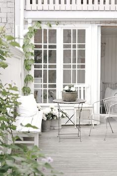 Outside porch  Whitewashed Shabby chic French country rustic Swedish decor idea
