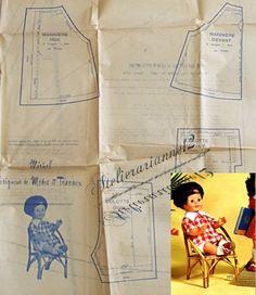 ❤ Patron original, poupée Michel MODES ET TRAVAUX, Juin 1974 ❤ : 4,99 EUR