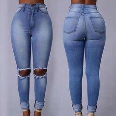 High Waist Ripped Skinny Denim Jeans