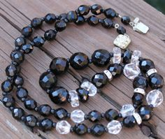 Czech Art Deco Necklace Faceted Black and by ToadSuckTreasures, $75.00