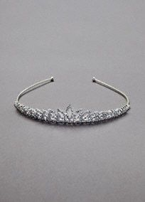 This crystal open leaf tiara will give any bride just the right amount of sparkle. Short in height, this gorgeous tiara provides the perfect mix of stylish and the traditional.  Features leaf design.  Crystal accents adorn the headpiece.  Silver in color.
