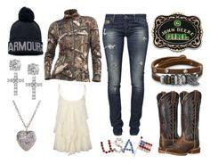 """Country Queen"" by im-a-jeans-and-boots-kinda-girl ❤ liked on Polyvore featuring John Deere, Full Tilt, GUESS, BillyTheTree, Ariat, Under Armour, Icebreaker, Giani Bernini and country"