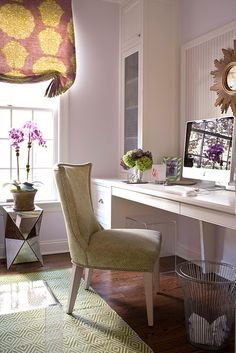 Sweet and Chic Office | Fabric in window is back-lit art - casting a warm glow. Feminine with touches of glam