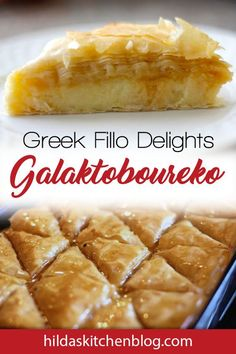 """You'll love this Greek Galaktoboureko recipe! In the Middle East, this custard-filled fillo dough dessert is known as """"Kahi. Greek Sweets, Greek Desserts, Easter Desserts, Custard Desserts, Delicious Desserts, Cannoli, Galaktoboureko Recipe, Bougatsa Recipe, East Dessert Recipes"""