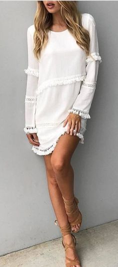 #fall #outfits women's white boat-neck long-sleeved mini dress