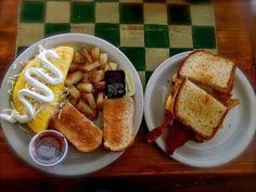 Breakfast at Main Street Café in Bastrop, Texas. #downtownbastroptx #visitlostpines #Bastrop #Texas #eatlocal #breakfast #eggs #toast #café